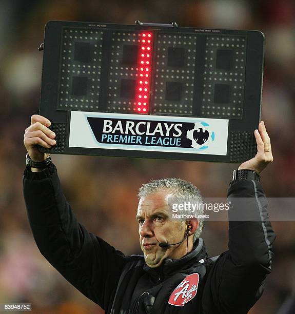 A generic substitute board during the Barclays Premier League match between Hull City and Middlesbrough at the KC Stadium on December 6 2008 in Hull...