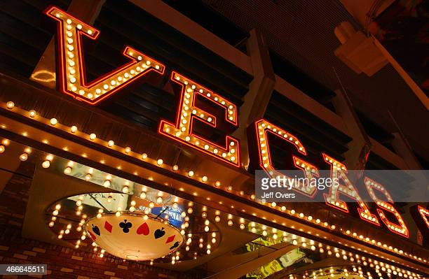 Generic view of neon lights along the strip in Las Vegas Nevada