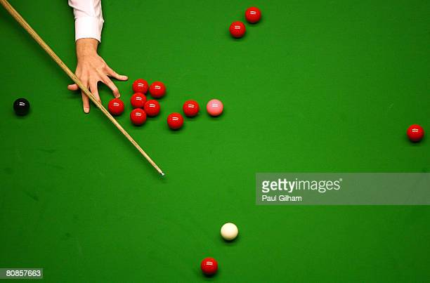 A generic view of Ryan Day of Wales playing a shot during his match against John Higgins of Scotland during day seven of the 888com World Snooker...