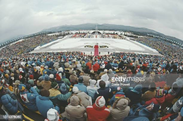 Generic view of spectators watching the Opening Ceremony for the XIII Olympic Winter Games on 14 February 1980 at the Lake Placid Equestrian Stadium,...