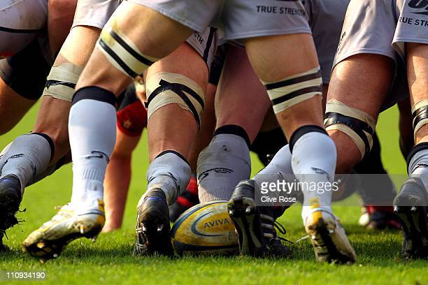 A generic view of the ball in the scrum during the Aviva Premiership match between Saracens and Newcastle Falcons on March 27 2011 in Watford England