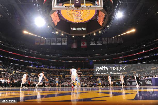 A generic view of the court prior to the game of the Philadelphia 76ers against the Los Angeles Lakers on November 15 2017 at STAPLES Center in Los...