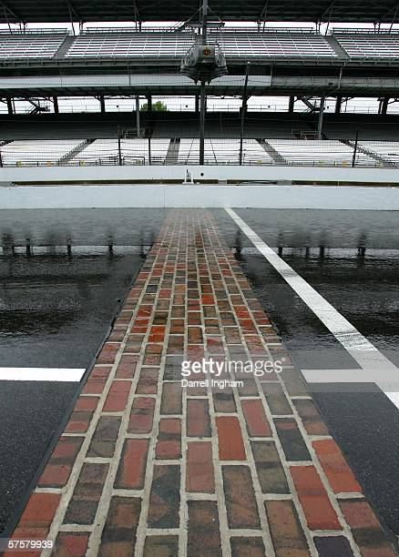 A generic view of the famous yard of brick on the start finish line as rain stops practice for the IRL IndyCar Series 90th running of the...