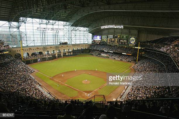Generic view of the field during the MLB game between the Houston Astros and the Arizona Diamondbacks on June 27 2002 at Minute Maid Park in Houston...