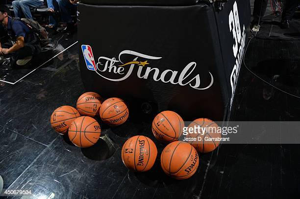 A generic view of the Finals logo in the game of the Miami Heat against the San Antonio Spurs during Game Five of the 2014 NBA Finals on June 15 2014...