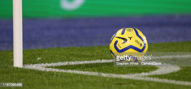 Generic view of the match ball during the Premier League match between Leicester City and Watford FC at The King Power Stadium on December 4, 2019 in...