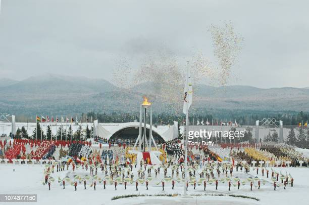 Generic view of the Opening Ceremony for the XIII Olympic Winter Games on 14 February 1980 at the Lake Placid Equestrian Stadium, Lake Placid, United...