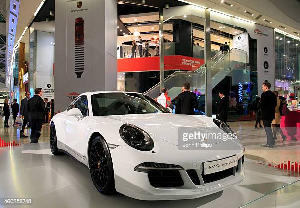A generl view of a Porsche 911 Carrera gts during the launch of Sound of Porsche experience at Westfield London on December 10 2014 in London England