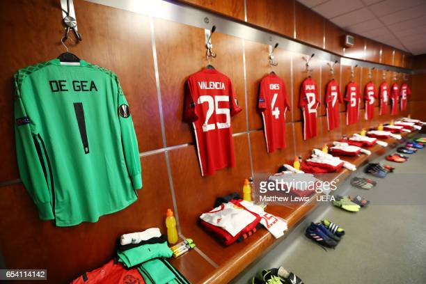 A generl view of the Manchester United dressing room prior to kickoff during the UEFA Europa League Round of 16 second leg match between Manchester...