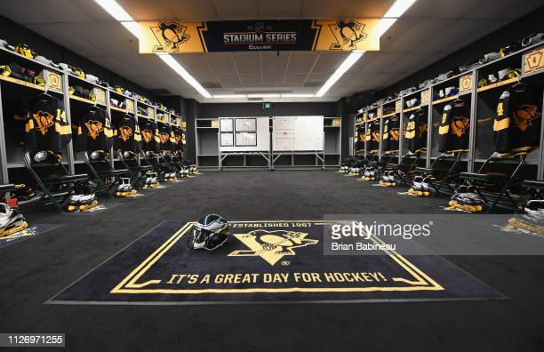 A generl view of the Pittsburgh Penguins locker room is seen ahead of the 2019 Coors Light NHL Stadium Series game between the Pittsburgh Penguins...