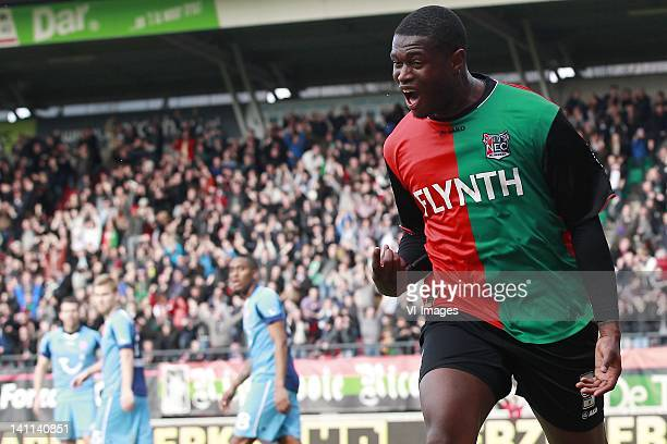 Genero Zeefuik of NEC during the Dutch Eredivisie match between NEC Nijmegen and FC Twente at Stadium De Goffert on March 11, 2012 in Nijmegen,...