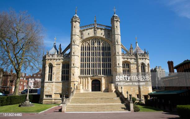 Generral view of St George's Chapel during the funeral of Prince Philip, Duke of Edinburgh on April 17, 2021 in Windsor, England. Prince Philip of...