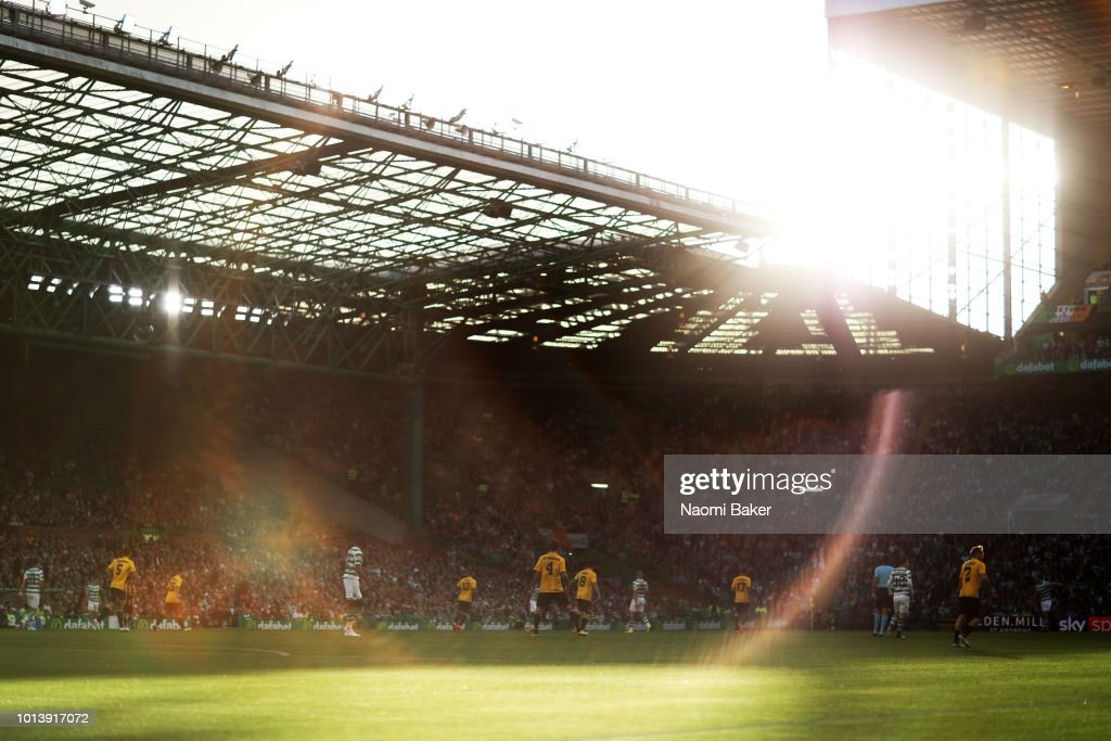 A generval view as the sun sets inside the stadium during the UEFA Champions League Qualifiing match between Celtic and AEK Athens at Celtic Park Stadium on August 8, 2018 in Glasgow, Scotland.