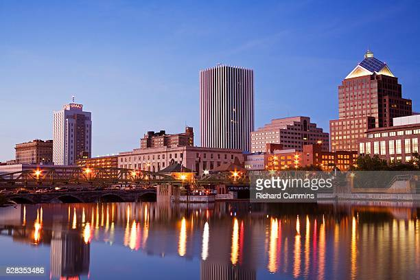 Genesee River and Rochester Skyline, New York State, USA
