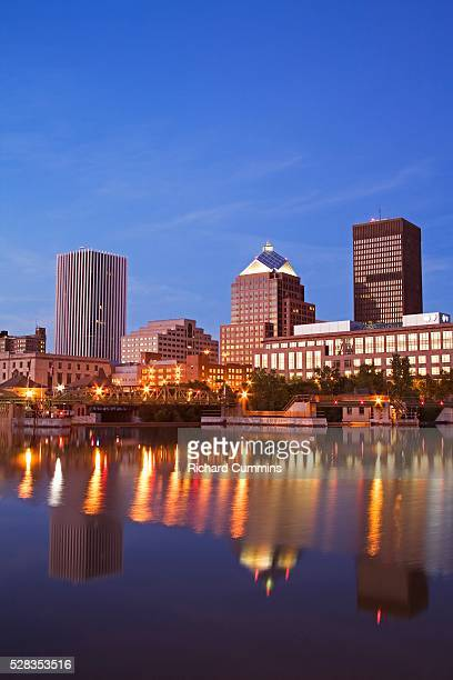 Genesee River, Rochester skyline, New York State, USA