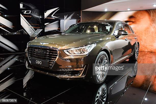 genesis g90 on the motor show - motor show stock pictures, royalty-free photos & images