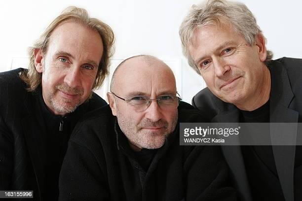 Genesis Group On Tour Plan de face souriant de Mike RUTHERFORD Phil COLLINS et Tony BANKS posant à l'hôtel Movenpick de GENEVE dans le cadre de leur...