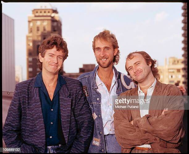 Genesis group portrait session Chicago United States October 1986 Tony Banks Mike Rutherford Phil Collins