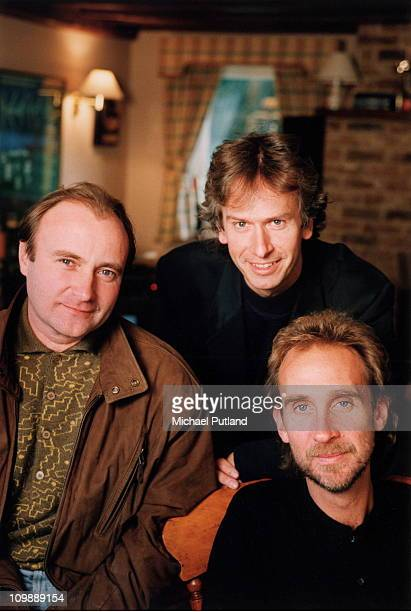 Genesis group portrait session United Kingdom Phil Collins Tony Banks Mike Rutherford