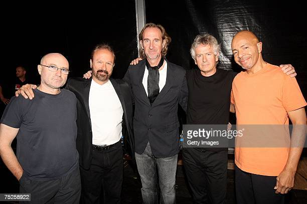Genesis including frontman Phil Collins pose backstage during the Live Earth concert at Wembley Stadium on July 7 2007 in London England Live Earth...