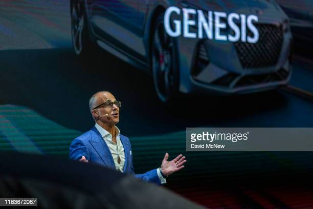 Genesis Motor North America CEO Mark Del Rosa speaks at the unveiling of the Genesis G90 at AutoMobility LA on November 20, 2019 in Los Angeles,...