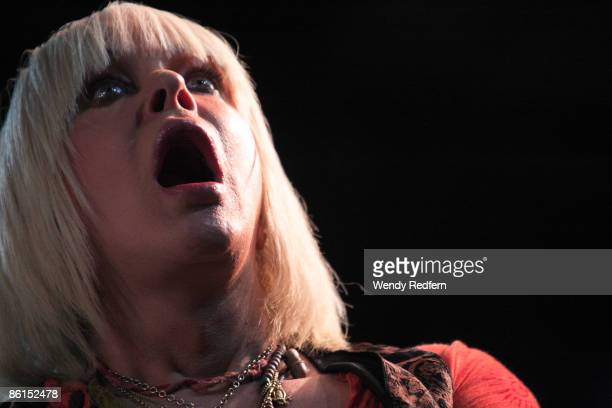 Genesis P. Orridge of Throbbing Gristle performs on stage at Coachella Festival 2009 at Empire Polo Field on April 19, 2009 in Indio, California,...