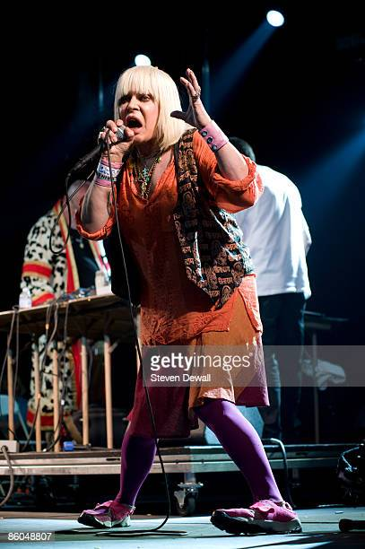 Genesis P. Orridge of Throbing Gristle performs on stage at Coachella Festival 2009 at Empire Polo Field on April 19, 2009 in Indio, California,...