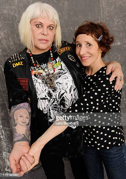 Genesis Porridge and director Marie Losier visit the Tribeca Film Festival 2011 portrait studio on April 25 2011 in New York City