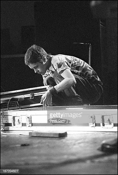 Genesis P-Orridge of Throbbing Gristle performs on stage at The Lyceum Theatre, London, on 8th February 1981.