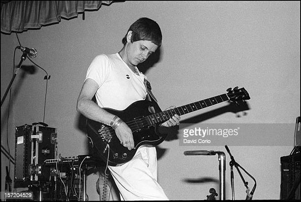 Genesis POrridge of Throbbing Gristle performs on stage at YMCA London on 3rd August 1979