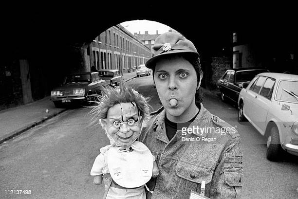 Genesis POrridge of Throbbing Gristle with a ventriloquist's dummy London circa 1980