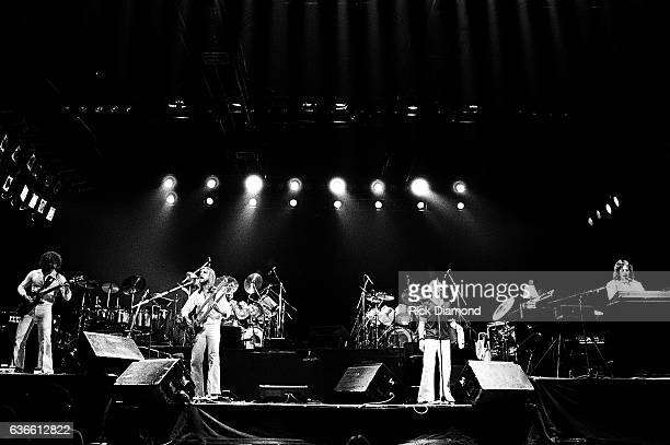 Genesis Rock and Roll Hall of Fame Daryl Stuermen Mike Rutheford Phil Collins and Tony Banks perform at The Omni Coliseum in Atlanta Georgia October...