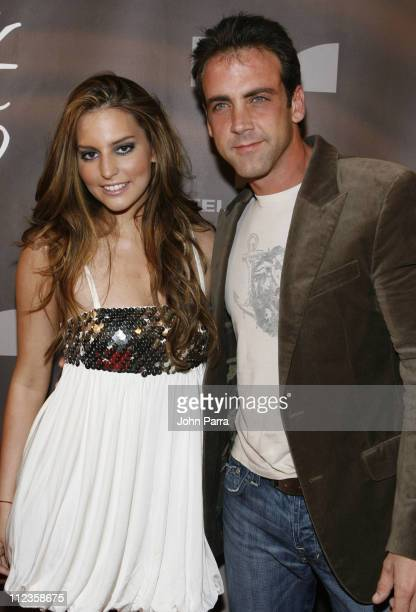 Genesis Rodriguez and Carlos Ponce during Telemundo's 'Dame Chocolate' Cast Premiere Party Arrivals at Lincoln Road in South Beach Florida United...