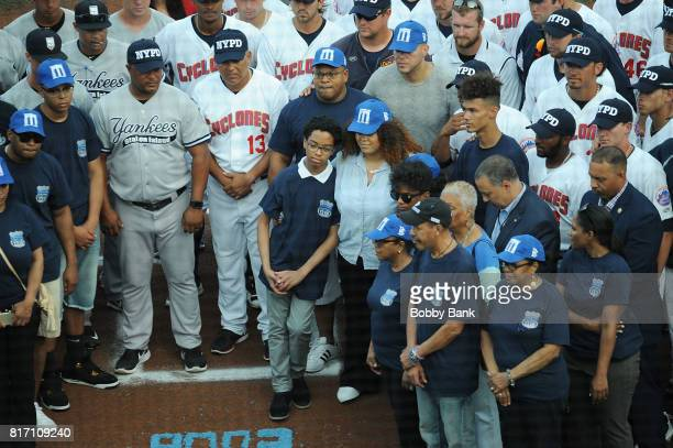 Genesis Villella Delilah Vega and Peter Vega attends the NYPD Holds Fundraiser For Slain Officer Miosotis Familia at MCU Park in Coney Island on July...