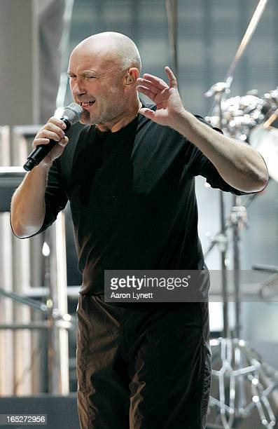 Rock band Genesis frontman Phil Collins works the audience during a rehearsal show for a small crowd Wednesday afternoon September 5 2007 at Air...