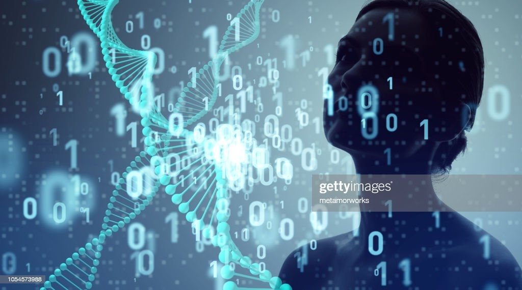 Genetic engineering and digital technology concept. : Stock Photo