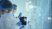 Genetic engineering concept. Medical science. Scientific Laboratory.