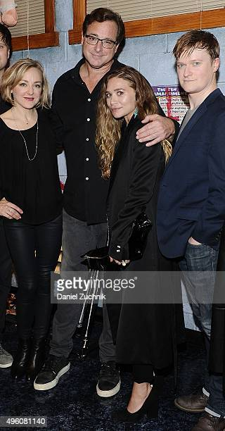 Geneva Carr Bob Saget Ashley Olsen and Steven Boyer pose on stage at 'Hand To God' at Booth Theatre on November 6 2015 in New York City