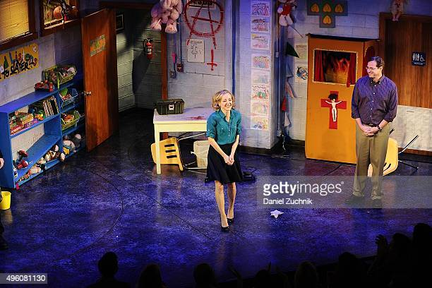 Geneva Carr poses during the curtain call of 'Hand To God' at Booth Theatre on November 6 2015 in New York City