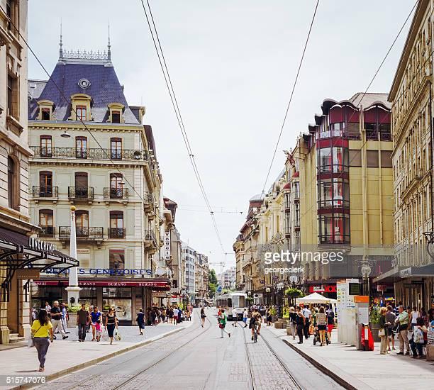 geneva city centre street scene - genève zwitserland stockfoto's en -beelden