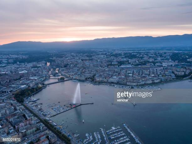 Geneva cityscape in sunset