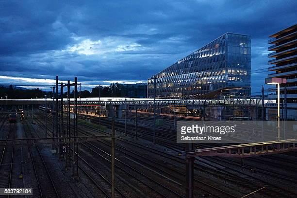 Geneva Sécheron Trian Station, and Surroundings at Dusk, Geneva, Switzerland