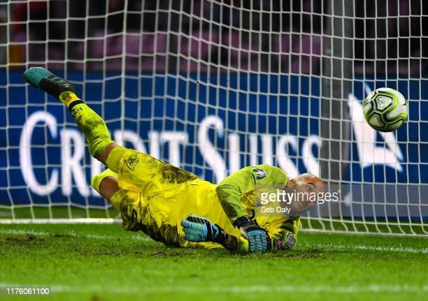 Geneva Switzerland 15 October 2019 Darren Randolph of Republic of Ireland saves a penalty from Ricardo Rodríguez of Switzerland during the UEFA EURO...