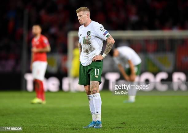 Geneva , Switzerland - 15 October 2019; James McClean of Republic of Ireland during the UEFA EURO 2020 Qualifier match between Switzerland and...