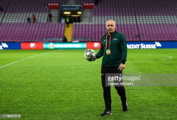 Geneva , Switzerland - 15 October 2019; Referee Szymon Marciniak inspects the pitch prior to the UEFA EURO 2020 Qualifier match between Switzerland...