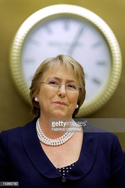 Chilean President Michelle Bachelet addresses a special session of the United Nations Human Rights council 04 June 2007 in Geneva Bachelet is on a...