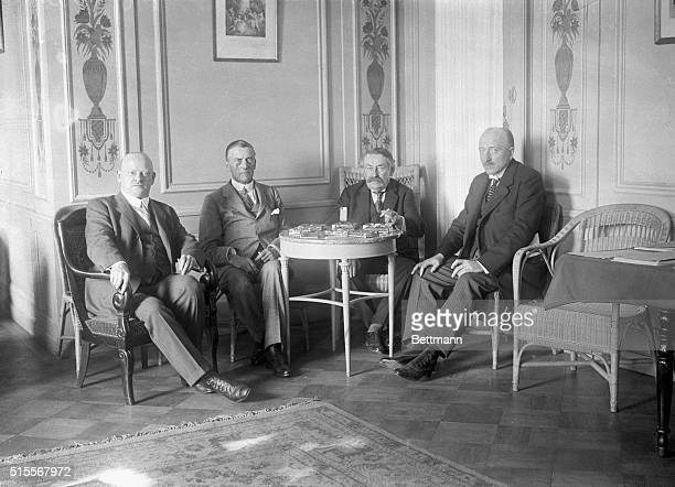 1926 Geneva Switzerland Four delegates to the League of Nations sitting at a table Left to right are Dr Stresemann of Germany Sir Austin Chamberlain...