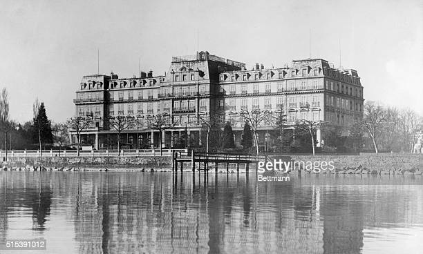 1920 Geneva Switzerland General view of the exterior of the League of Nations building from across the river