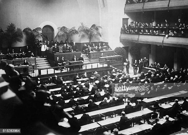 12/4/1920 Geneva Switzerland General view of the first meeting of the League of Nations in the Hall of Reformation