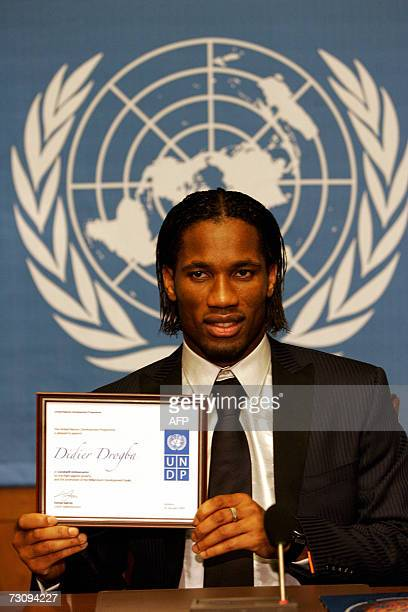 Ivory Coast star football player Didier Drogba smiles at his appointment as United Nations Development Programme Goodwill Ambassador 24 January 2007...